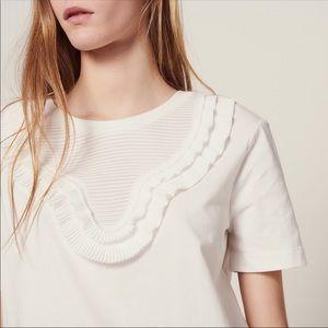 Sandro Paris White Ruffle T-Shirt Sz M
